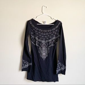 Lucy Charcoal Studded Long Sleeve Tunic Top